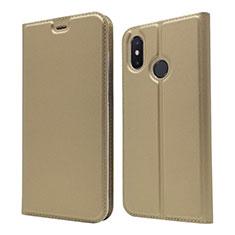 Custodia Portafoglio In Pelle Cover con Supporto L04 per Xiaomi Mi 8 Oro