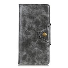 Custodia Portafoglio In Pelle Cover con Supporto L05 per Alcatel 3X Grigio