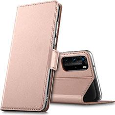Custodia Portafoglio In Pelle Cover con Supporto L05 per Huawei P40 Pro Oro Rosa