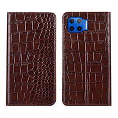 Custodia Portafoglio In Pelle Cover con Supporto L05 per Motorola Moto One 5G Marrone