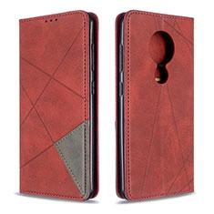 Custodia Portafoglio In Pelle Cover con Supporto L05 per Nokia 7.2 Rosso