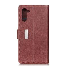Custodia Portafoglio In Pelle Cover con Supporto L05 per OnePlus Nord Marrone
