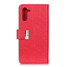 Custodia Portafoglio In Pelle Cover con Supporto L05 per OnePlus Nord Rosso
