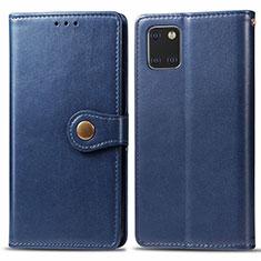Custodia Portafoglio In Pelle Cover con Supporto L05 per Samsung Galaxy A81 Blu