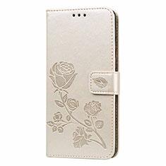 Custodia Portafoglio In Pelle Cover con Supporto L05 per Samsung Galaxy M21s Oro