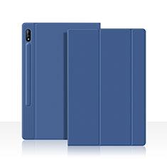 Custodia Portafoglio In Pelle Cover con Supporto L05 per Samsung Galaxy Tab S7 4G 11 SM-T875 Blu