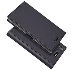 Custodia Portafoglio In Pelle Cover con Supporto L05 per Sony Xperia XZ1 Compact Nero