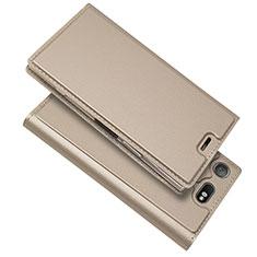 Custodia Portafoglio In Pelle Cover con Supporto L05 per Sony Xperia XZ1 Compact Oro