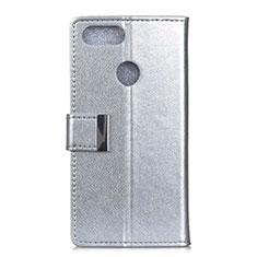 Custodia Portafoglio In Pelle Cover con Supporto L06 per Asus Zenfone Max Plus M1 ZB570TL Argento