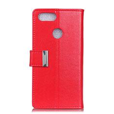Custodia Portafoglio In Pelle Cover con Supporto L06 per Asus Zenfone Max Plus M1 ZB570TL Rosso