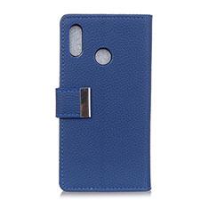 Custodia Portafoglio In Pelle Cover con Supporto L06 per Asus Zenfone Max ZB555KL Blu