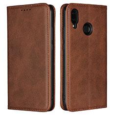 Custodia Portafoglio In Pelle Cover con Supporto L06 per Huawei Nova 3e Marrone