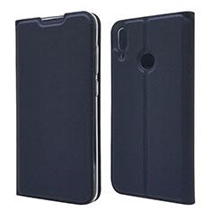 Custodia Portafoglio In Pelle Cover con Supporto L06 per Huawei Y7 (2019) Blu