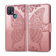 Custodia Portafoglio In Pelle Cover con Supporto L06 per Oppo A15 Oro Rosa