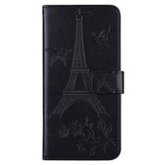 Custodia Portafoglio In Pelle Cover con Supporto L06 per Sony Xperia 8 Nero