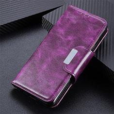 Custodia Portafoglio In Pelle Cover con Supporto L07 per Huawei Y5p Viola