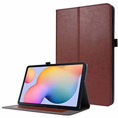 Custodia Portafoglio In Pelle Cover con Supporto L07 per Samsung Galaxy Tab S7 4G 11 SM-T875 Marrone