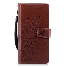 Custodia Portafoglio In Pelle Cover con Supporto L08 per Huawei P20 Marrone