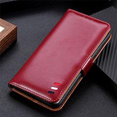 Custodia Portafoglio In Pelle Cover con Supporto L08 per Huawei Y5p Rosso Rosa