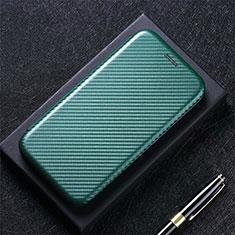 Custodia Portafoglio In Pelle Cover con Supporto L08 per Huawei Y7a Verde