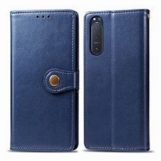 Custodia Portafoglio In Pelle Cover con Supporto L08 per Sony Xperia 5 II Blu