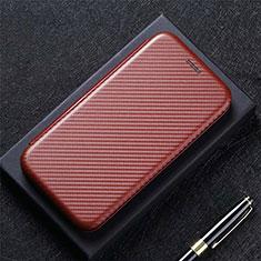 Custodia Portafoglio In Pelle Cover con Supporto L09 per LG Q52 Marrone