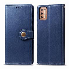 Custodia Portafoglio In Pelle Cover con Supporto L09 per Motorola Moto G9 Plus Blu