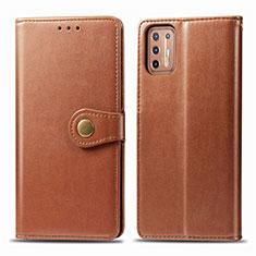 Custodia Portafoglio In Pelle Cover con Supporto L09 per Motorola Moto G9 Plus Marrone