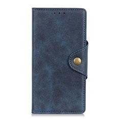 Custodia Portafoglio In Pelle Cover con Supporto L09 per Motorola Moto One Fusion Plus Blu