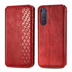 Custodia Portafoglio In Pelle Cover con Supporto L09 per Sony Xperia 5 II Rosso