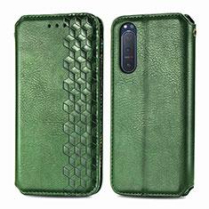 Custodia Portafoglio In Pelle Cover con Supporto L09 per Sony Xperia 5 II Verde