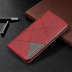 Custodia Portafoglio In Pelle Cover con Supporto L10 per Huawei Y6p Rosso