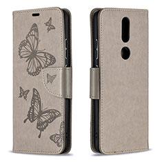 Custodia Portafoglio In Pelle Cover con Supporto L10 per Nokia 2.4 Grigio