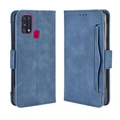 Custodia Portafoglio In Pelle Cover con Supporto L10 per Samsung Galaxy M21s Blu