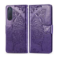 Custodia Portafoglio In Pelle Cover con Supporto L10 per Sony Xperia 5 II Viola