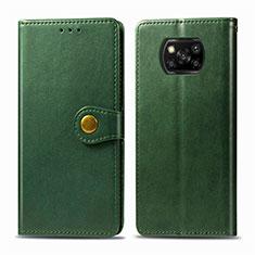 Custodia Portafoglio In Pelle Cover con Supporto L10 per Xiaomi Poco X3 NFC Verde