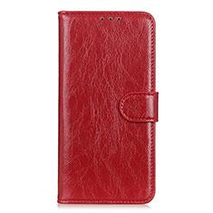 Custodia Portafoglio In Pelle Cover con Supporto L12 per Huawei Y5p Rosso