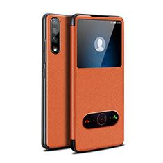 Custodia Portafoglio In Pelle Cover con Supporto L12 per Huawei Y8p Arancione