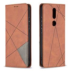 Custodia Portafoglio In Pelle Cover con Supporto L12 per Nokia 2.4 Marrone
