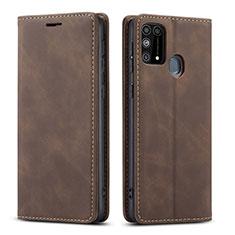 Custodia Portafoglio In Pelle Cover con Supporto L15 per Samsung Galaxy M21s Marrone
