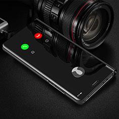 Custodia Portafoglio In Pelle Cover con Supporto Laterale Specchio Cover L01 per Huawei Enjoy 10 Plus Nero