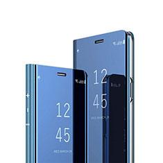 Custodia Portafoglio In Pelle Cover con Supporto Laterale Specchio Cover L01 per Huawei Y7p Blu