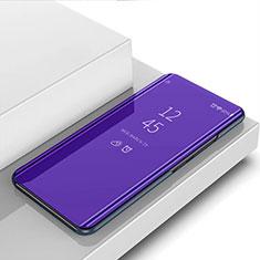 Custodia Portafoglio In Pelle Cover con Supporto Laterale Specchio Cover L01 per Motorola Moto G8 Plus Viola