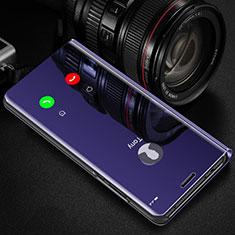 Custodia Portafoglio In Pelle Cover con Supporto Laterale Specchio Cover L01 per Samsung Galaxy S21 Ultra 5G Viola