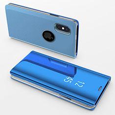 Custodia Portafoglio In Pelle Cover con Supporto Laterale Specchio Cover L02 per Apple iPhone X Blu