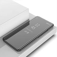 Custodia Portafoglio In Pelle Cover con Supporto Laterale Specchio Cover L02 per Huawei Enjoy 10 Plus Nero