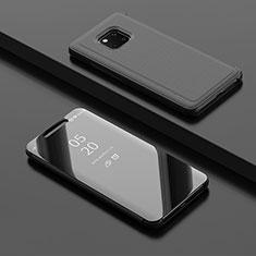 Custodia Portafoglio In Pelle Cover con Supporto Laterale Specchio Cover L02 per Huawei Mate 20 Pro Nero