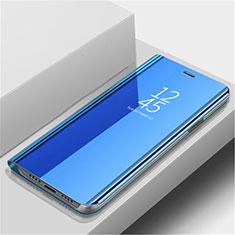 Custodia Portafoglio In Pelle Cover con Supporto Laterale Specchio Cover L02 per Huawei Nova 5 Blu
