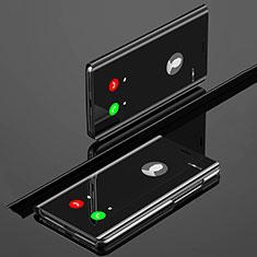 Custodia Portafoglio In Pelle Cover con Supporto Laterale Specchio Cover L02 per Huawei Nova 5 Nero