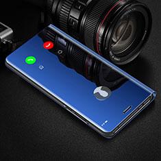 Custodia Portafoglio In Pelle Cover con Supporto Laterale Specchio Cover L02 per Huawei Y8p Blu